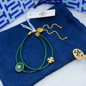 Tory Burch Green Kira Enameled Slider Bracelet